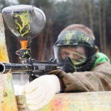 Paintball extreme sport game player